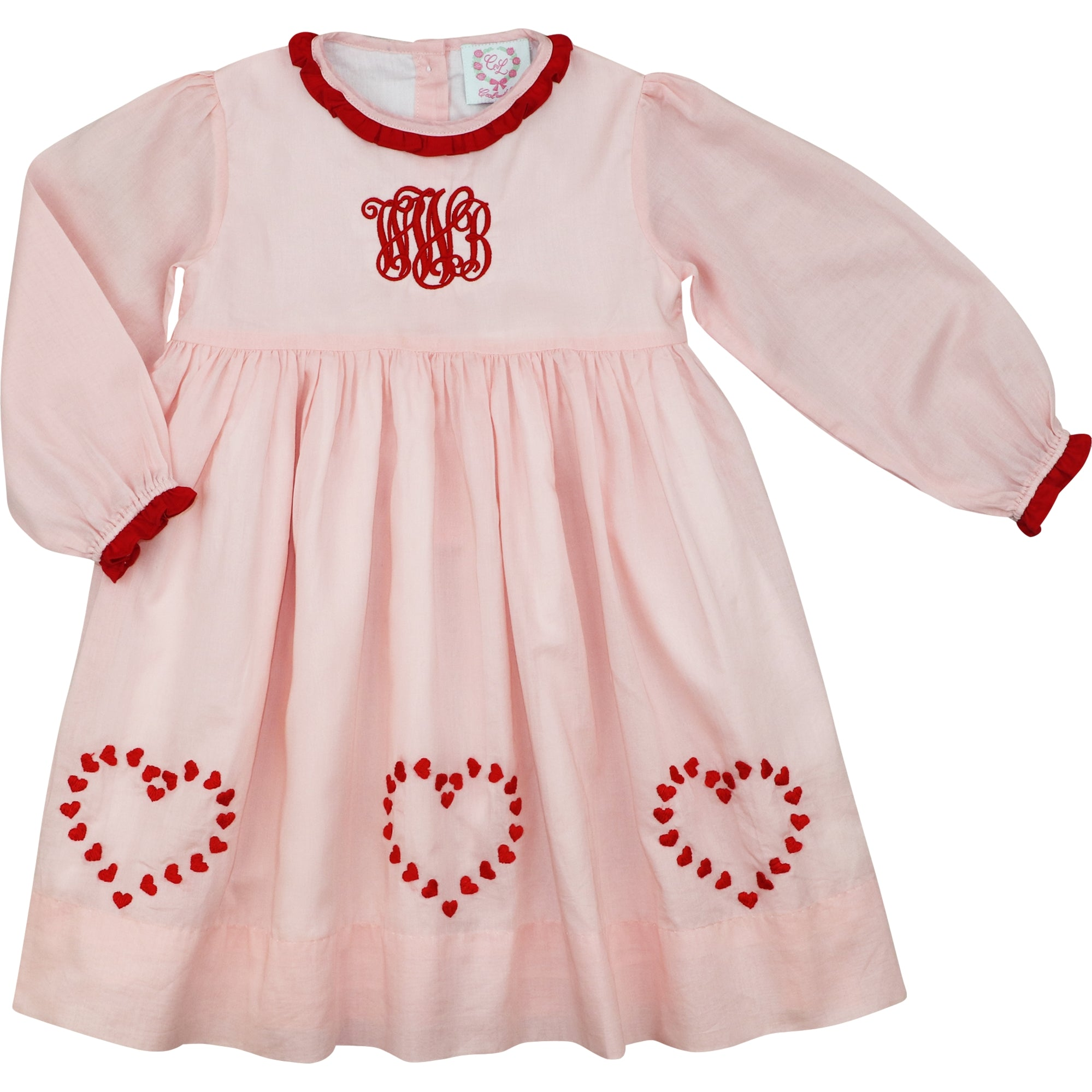 Pink Knit and Red Embroidered Hearts Dress