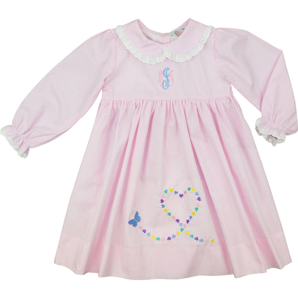 Pink Gingham Butterfly Heart Dress