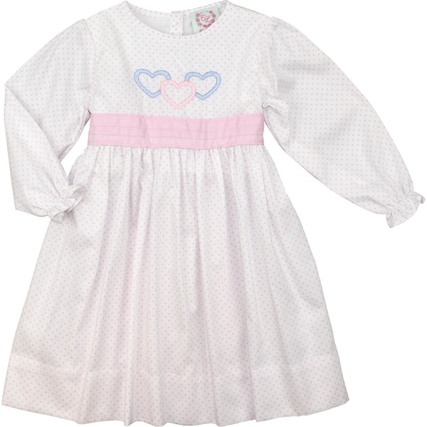 Pink Dot Three Heart Dress with Bow