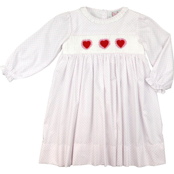 Pink Pique Dot Smocked Heart Dress