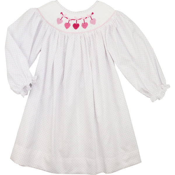 Pink Dot Pique Smocked Hearts Dress