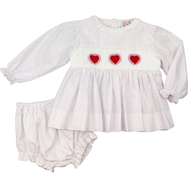 Pink Pique Dot Smocked Heart Diaper Set