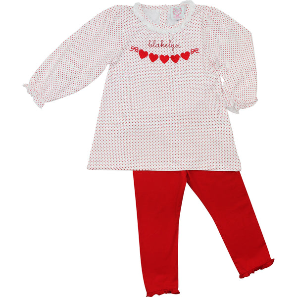 Red Dot Knit Hearts On Ribbon Pant Set