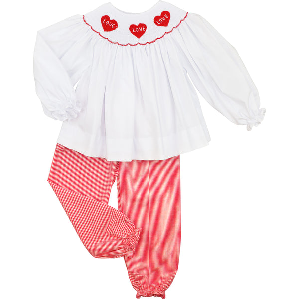 Red Gingham Smocked Hearts Pant Set