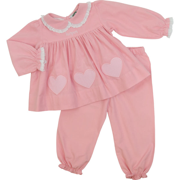 Pink Corduroy Applique Heart Pant Set