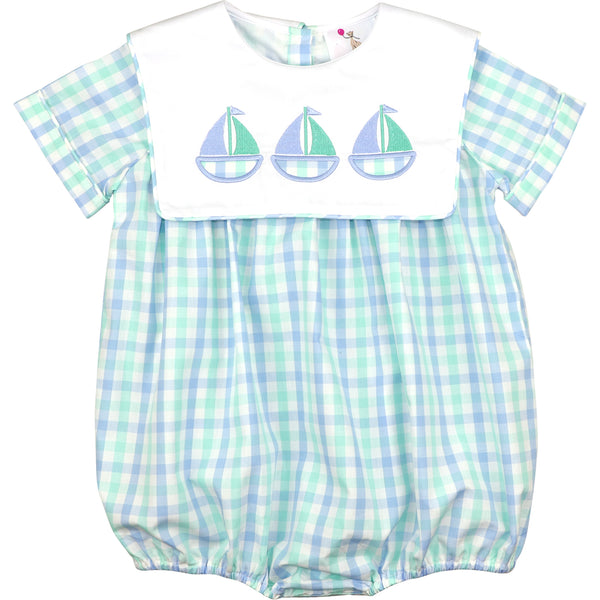Mint And Blue Check Sailboats Bubble
