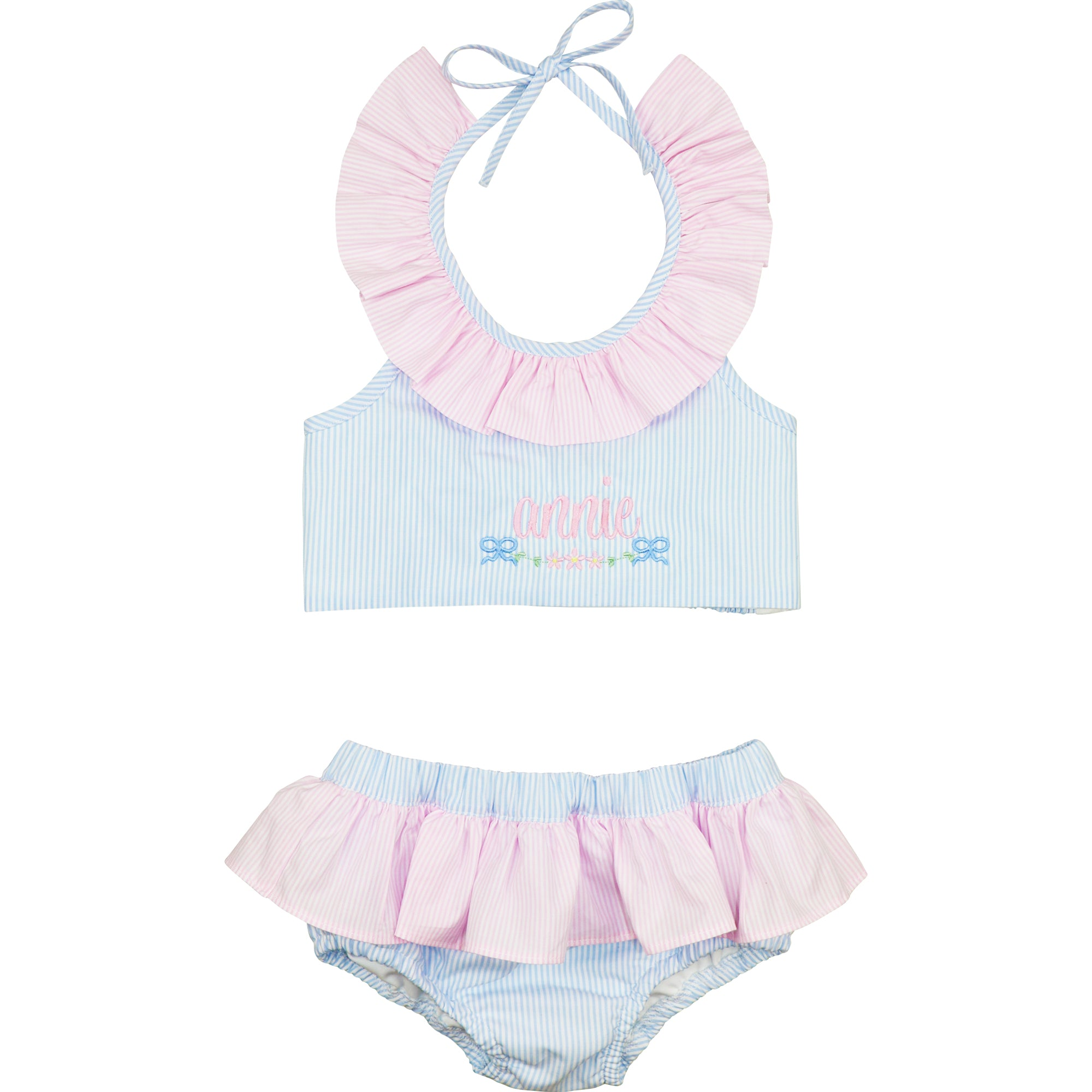 Blue And Pink Mini Stripe Bikini