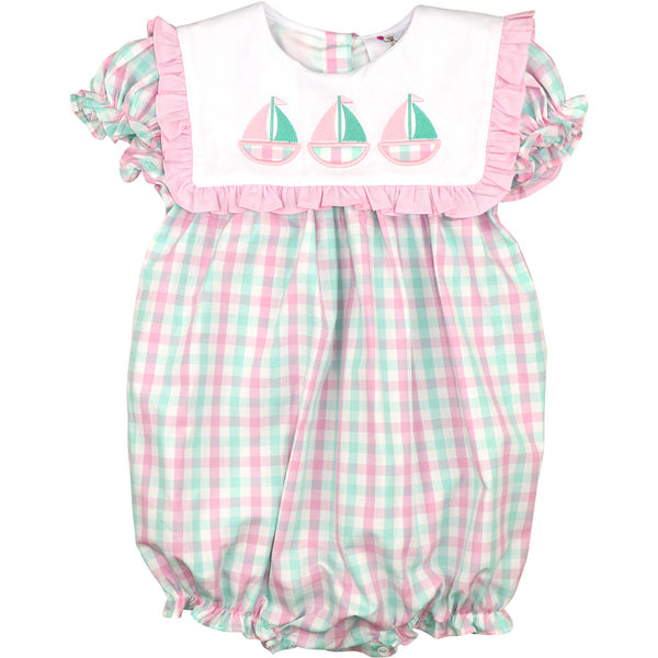 Mint And Pink Check Sailboats Bubble