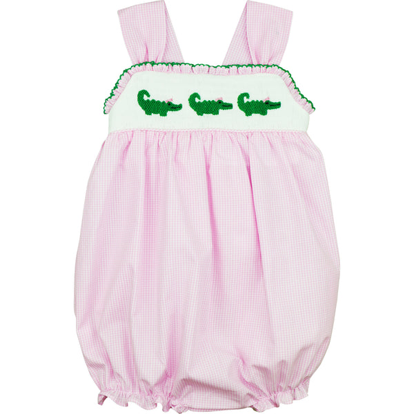 Pink Gingham Check Smocked Alligators Bow Bubble