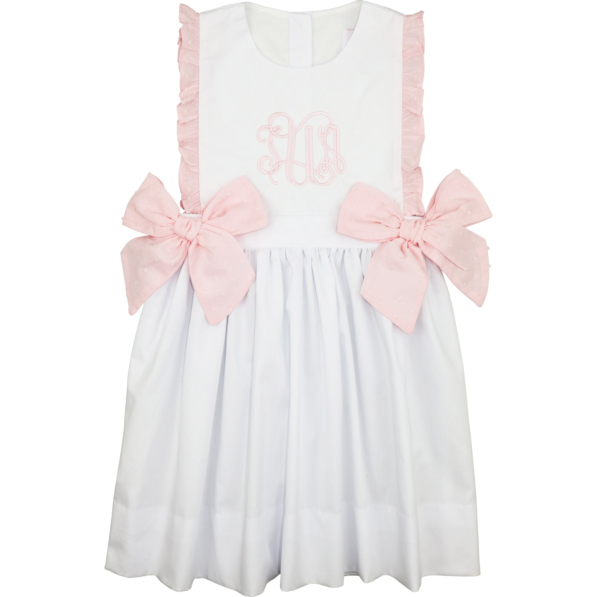 White And Pink Swiss Dot Side Bow Dress