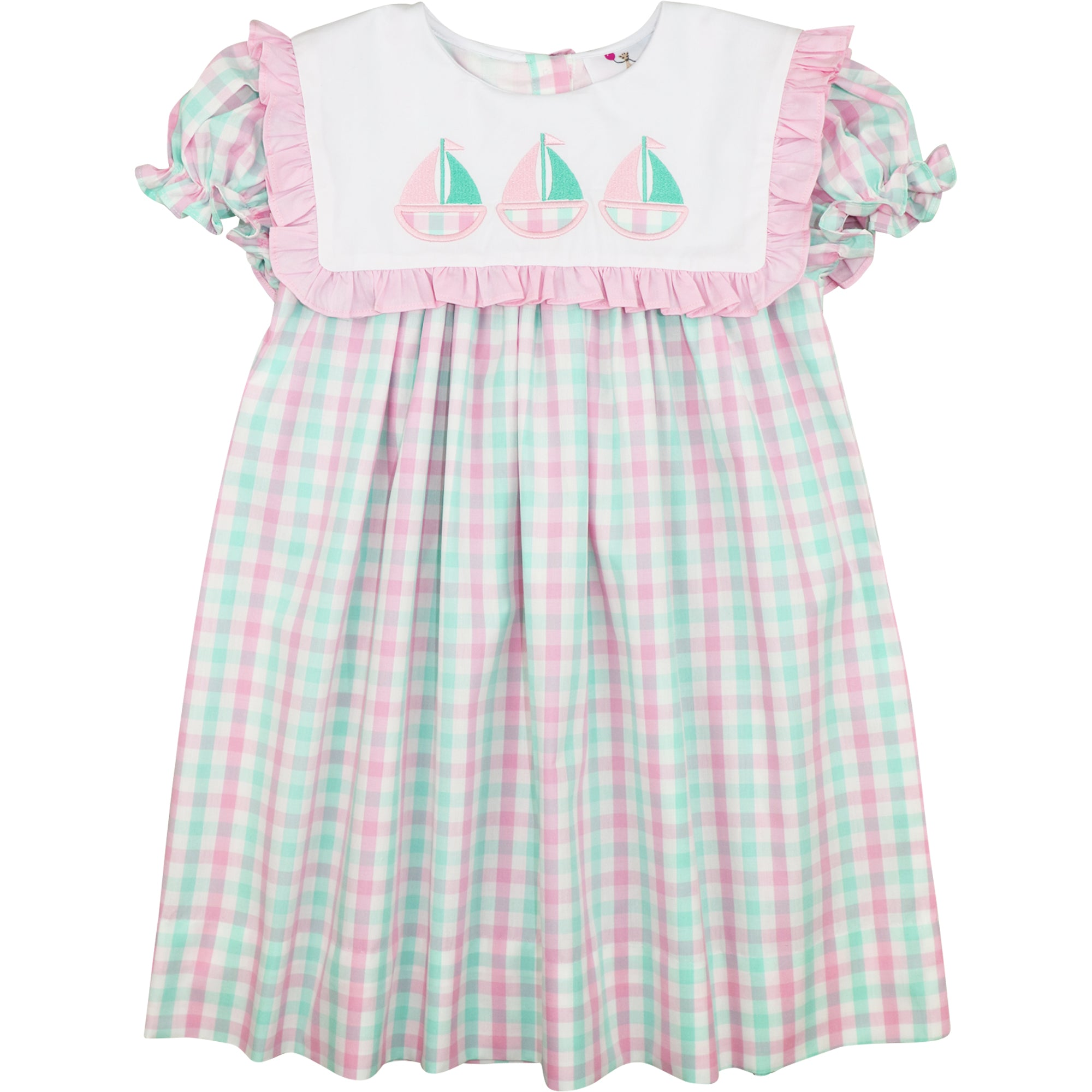 Mint And Pink Check Sailboats Dress