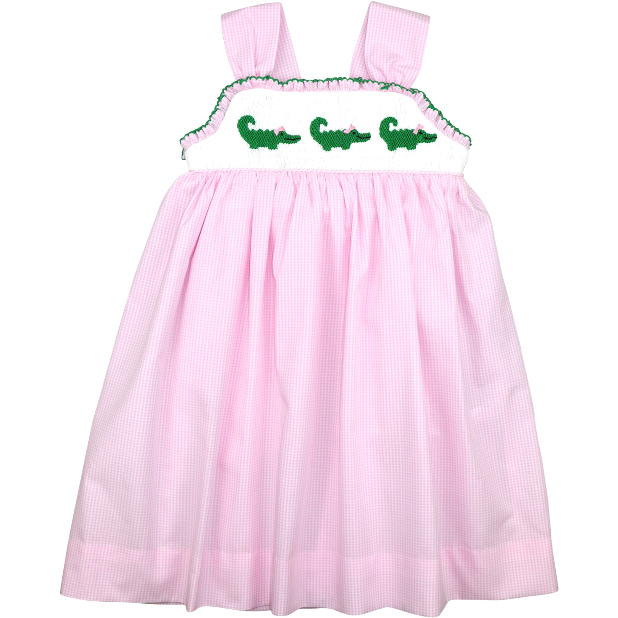 Pink Gingham Check Smocked Alligators Bow Dress