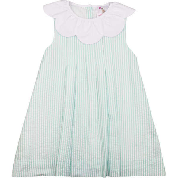 Mint And White Stripe Seersucker Dress