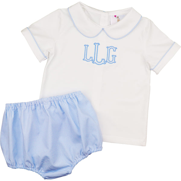 Blue Gingham And White Diaper Set