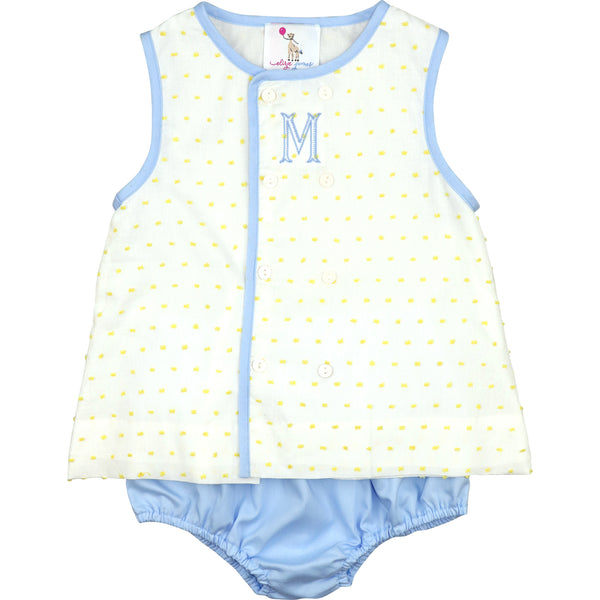 Yellow Swiss Dot And Blue Diaper Set