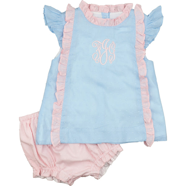 Blue And Pink Swiss Dot Bow Diaper Set