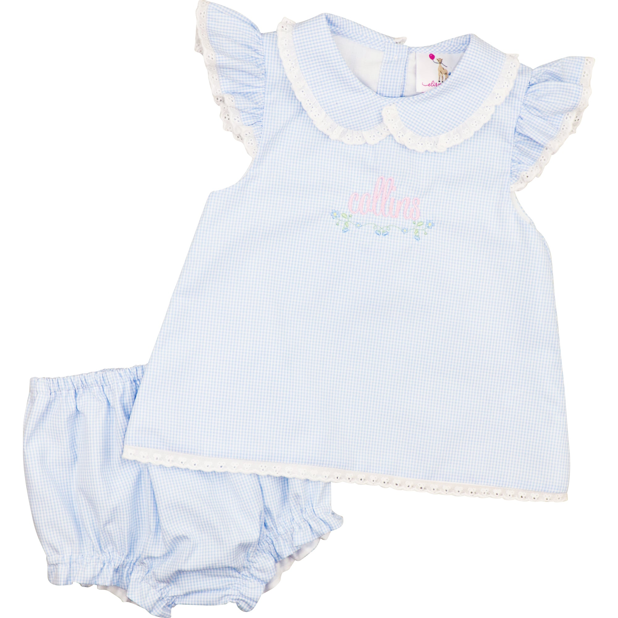 Blue Gingham Eyelet Diaper Set