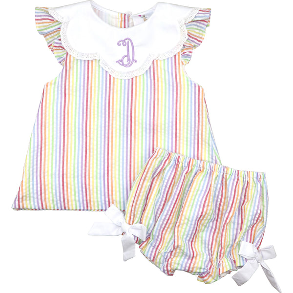 Pastel Stripe Seersucker Diaper Set