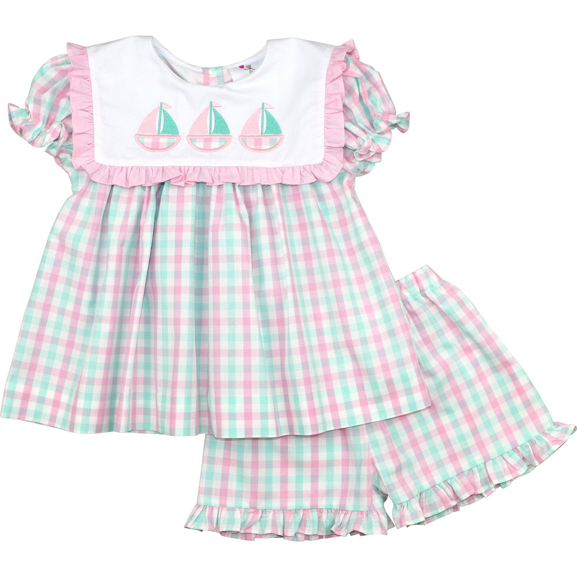 Mint And Pink Check Sailboats Short Set
