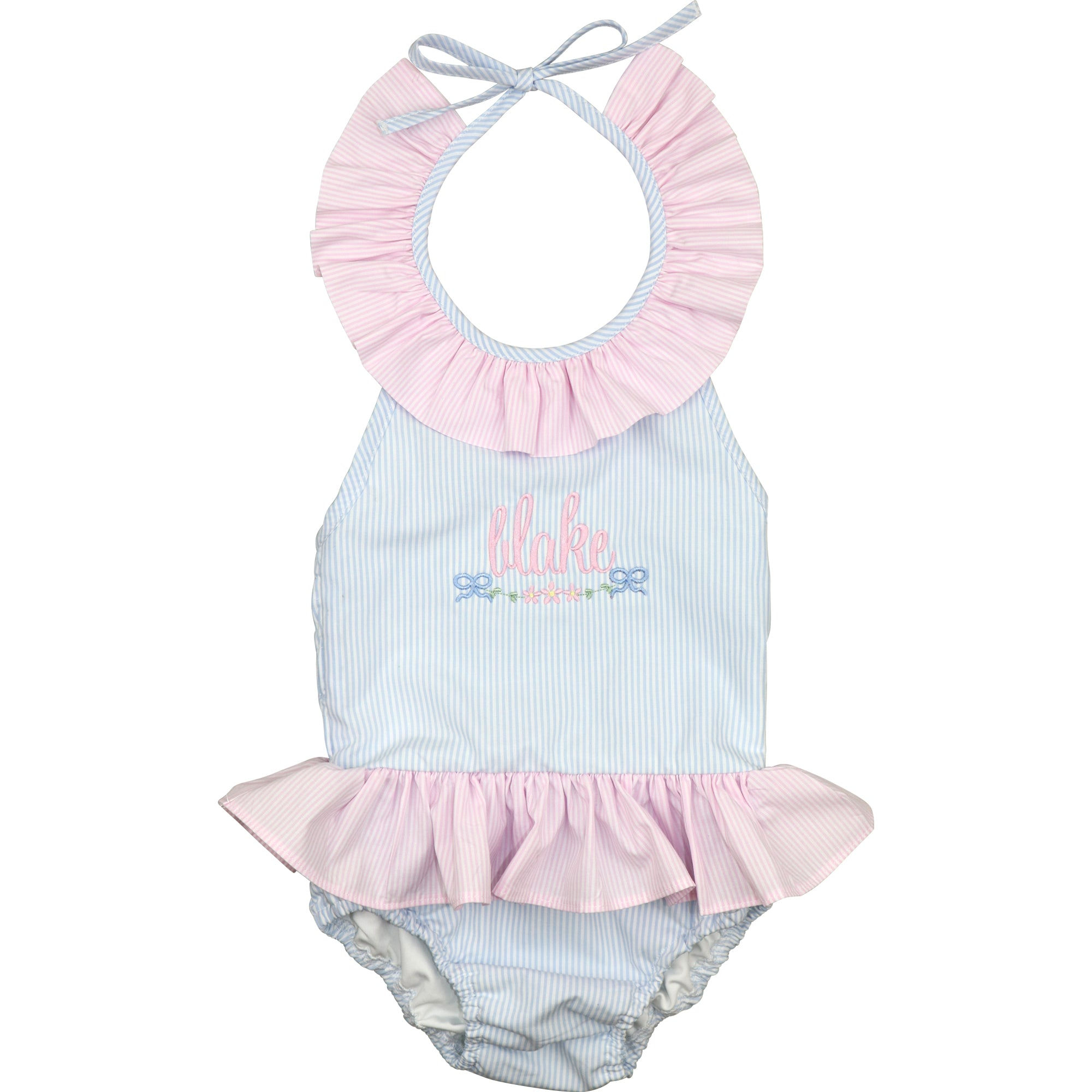 Blue And Pink Mini Stripe Swimsuit