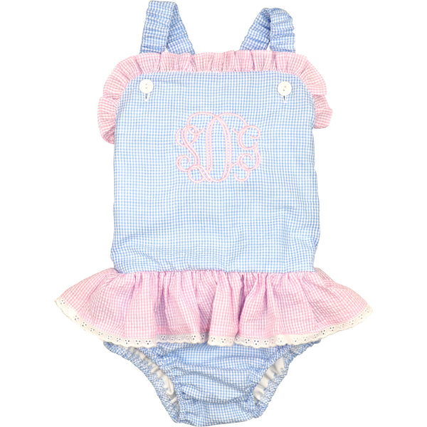 Blue And Pink Gingham Seersucker Swimsuit