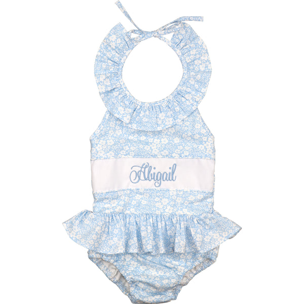 Blue And White Floral Insert Swimsuit