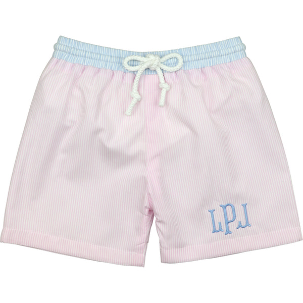 Blue And Pink Mini Stripe Swimtrunks