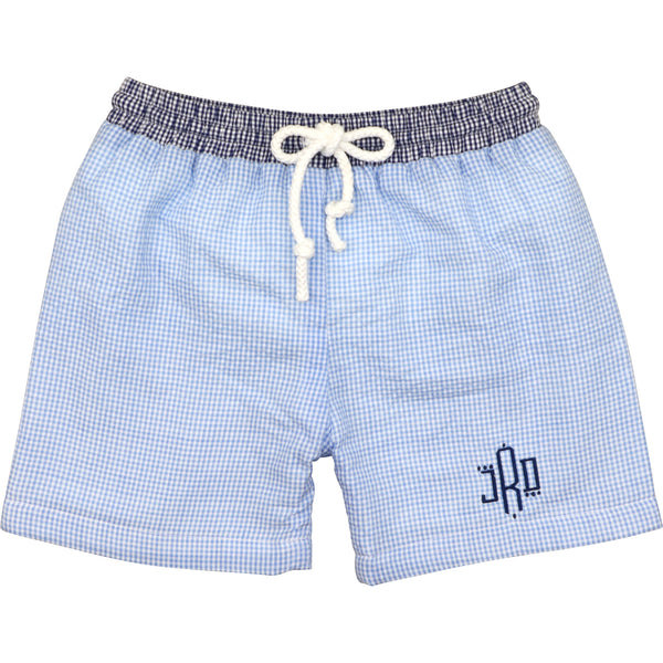 Blue And Navy Gingham Seersucker Swimtrunks