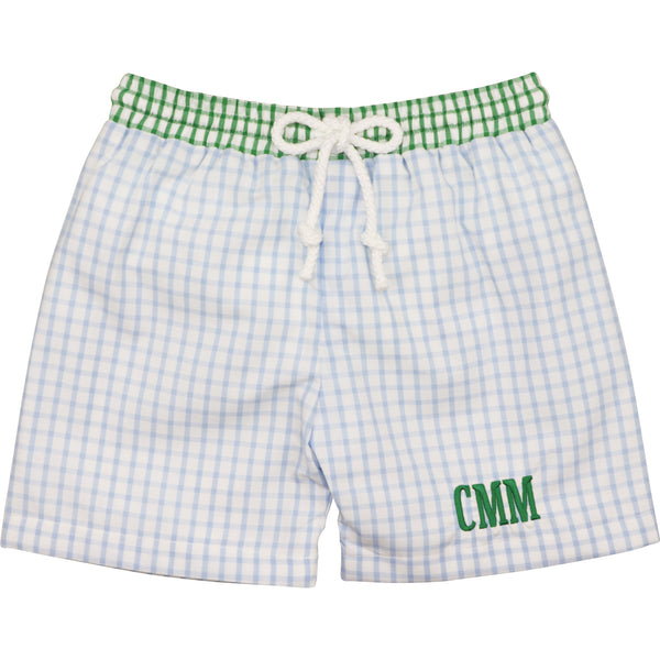 Green And Blue Windowpane Swimtrunks