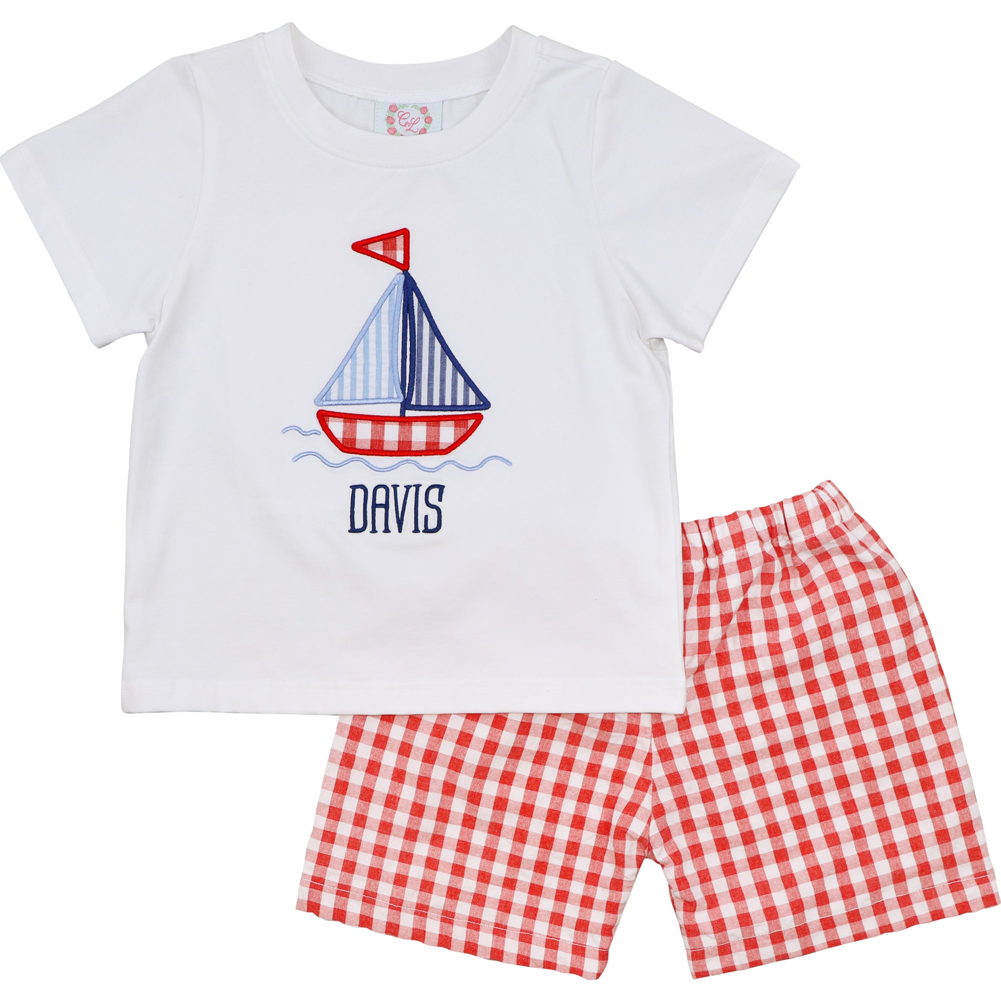 Red Check Seersucker Sailboat Short Set