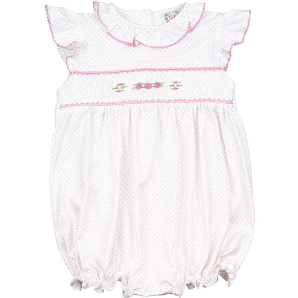 Pink Knit Dot Smocked Rosette Bubble