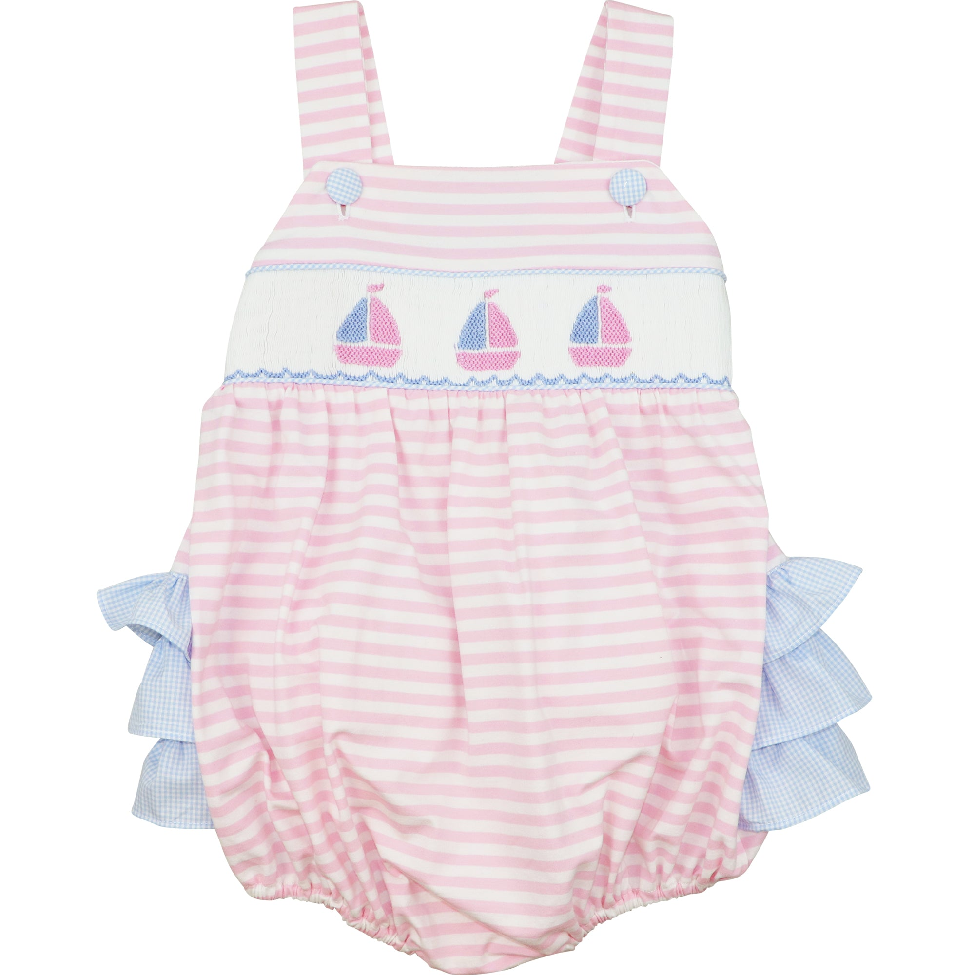 Pink Stripe Knit Smocked Sailboat Bubble