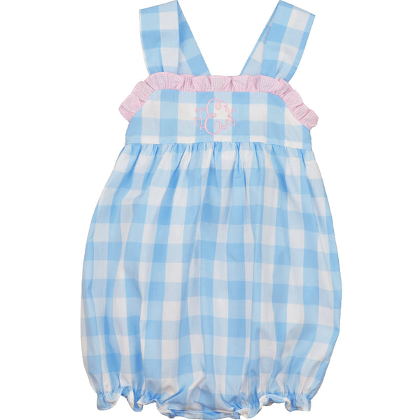 Blue and Pink Check Bow Bubble