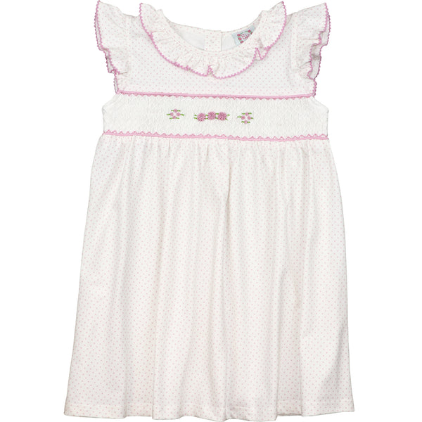 Pink Knit Dot Smocked Rosette Dress