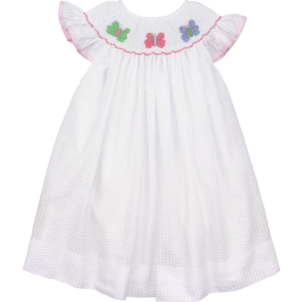 White Seersucker Smocked Butterfly Dress