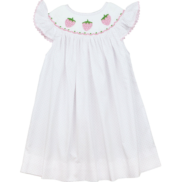 Pink Dot Pique Smocked Strawberry Dress