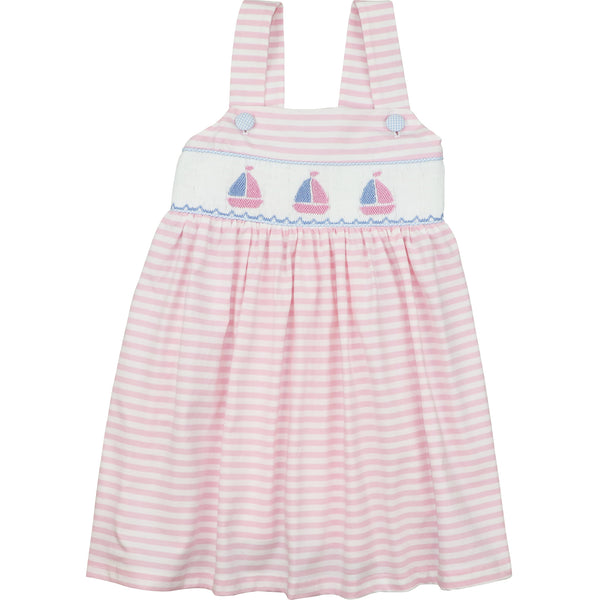 Pink Stripe Knit Smocked Sailboat Dress