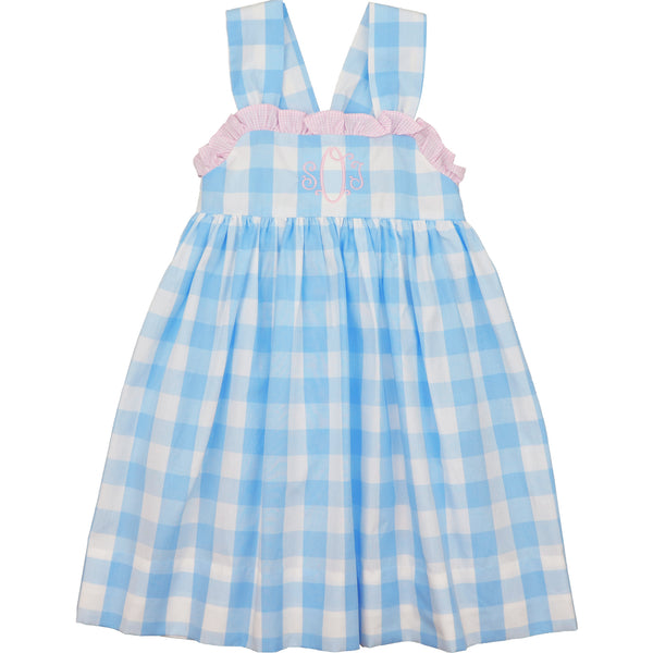 Blue and Pink Check Bow Dress