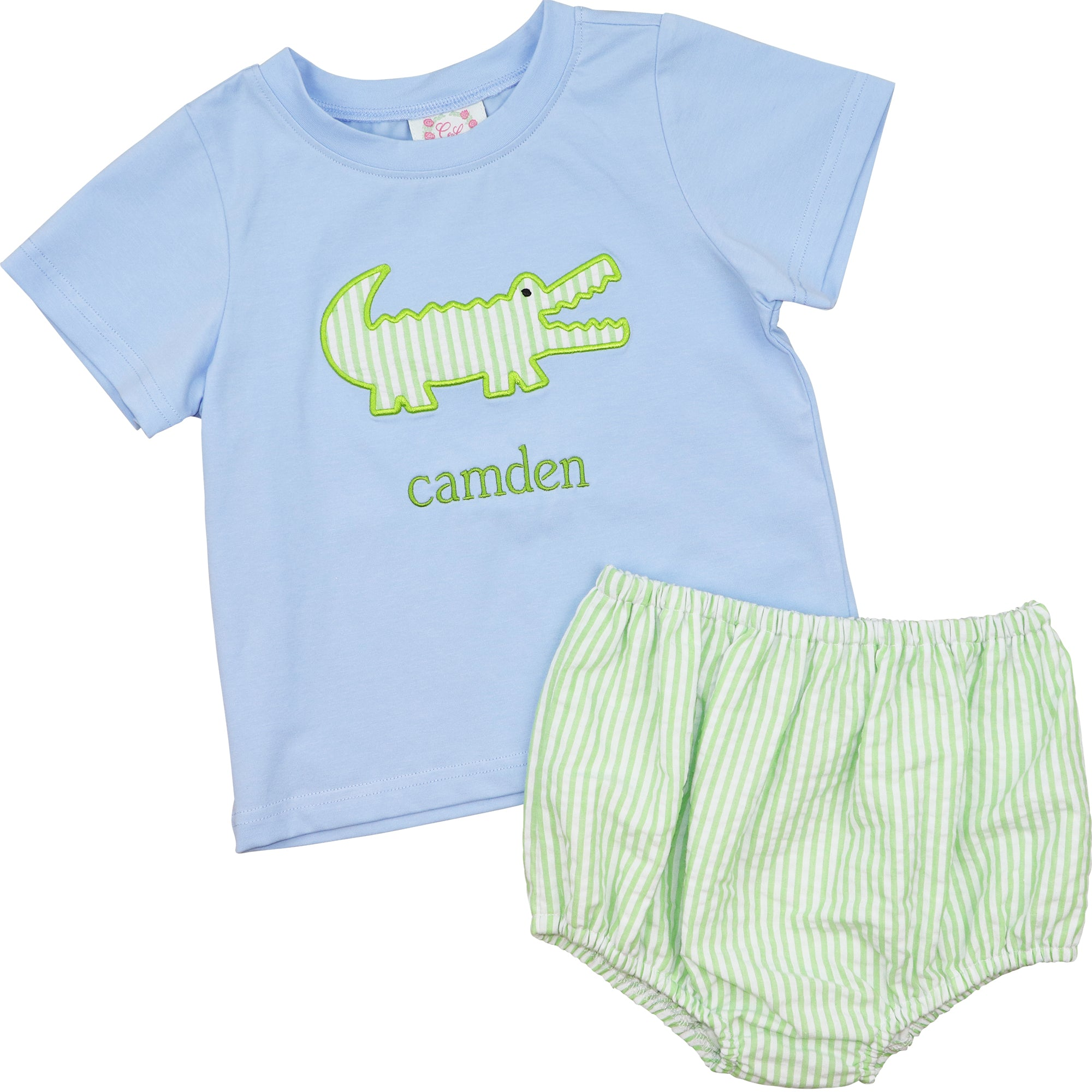 Green Seersucker Alligator Diaper Set