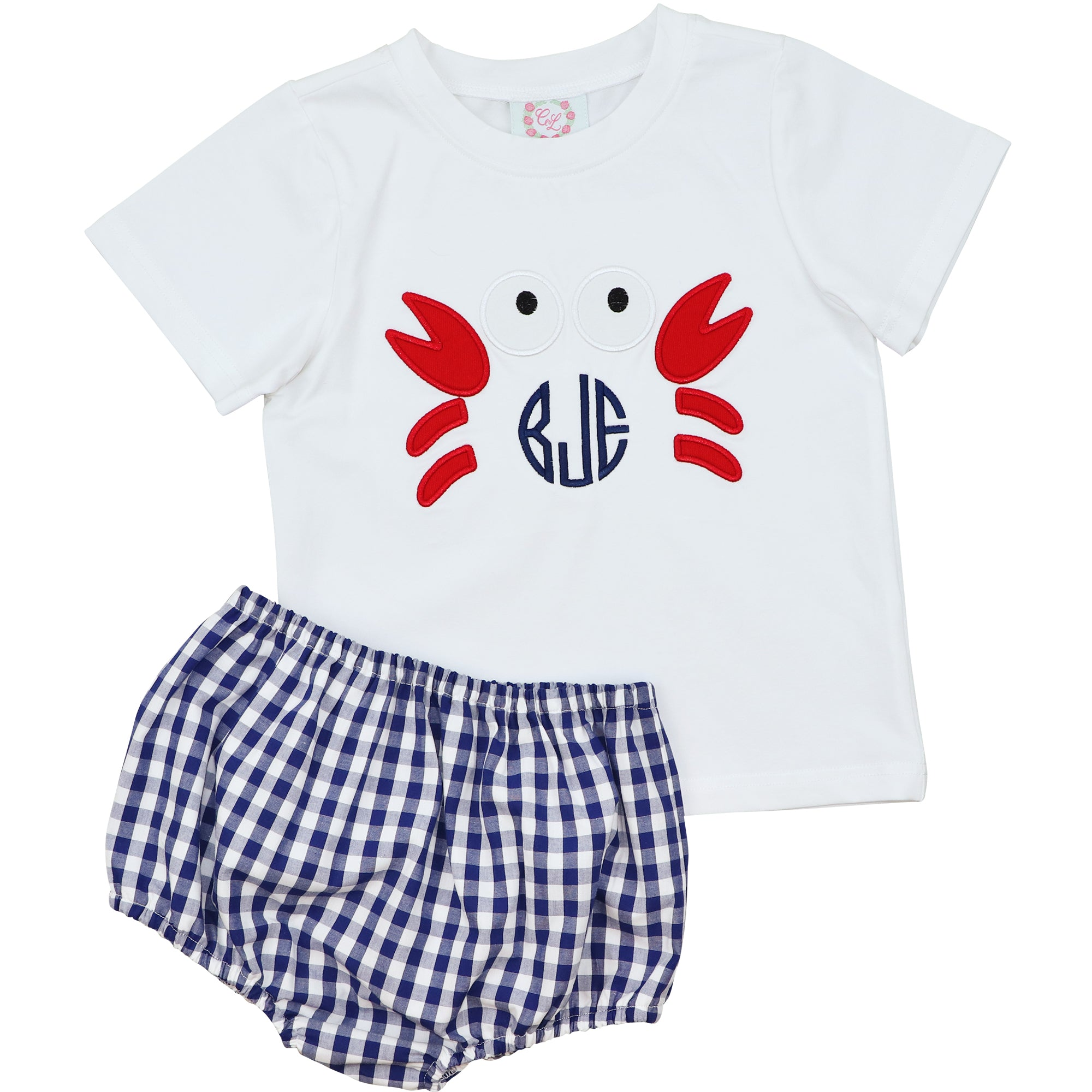 Navy Check Crab Diaper Set