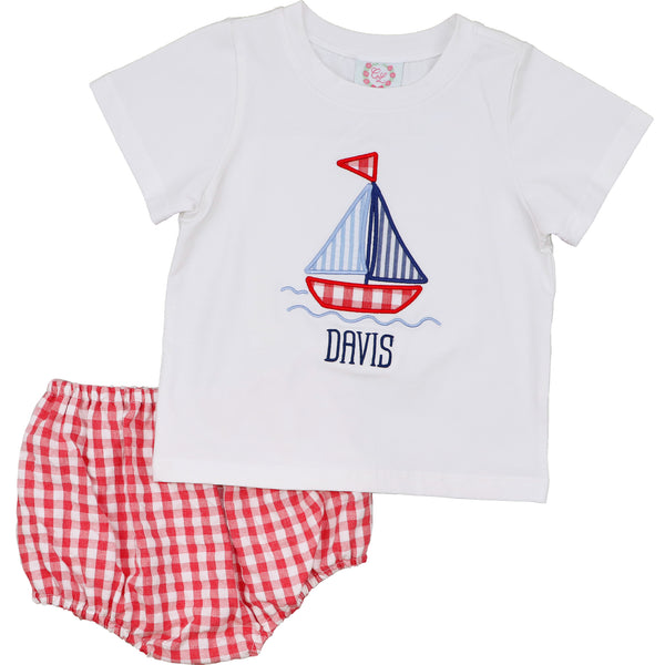 Red Check Seersucker Sailboat Diaper Set