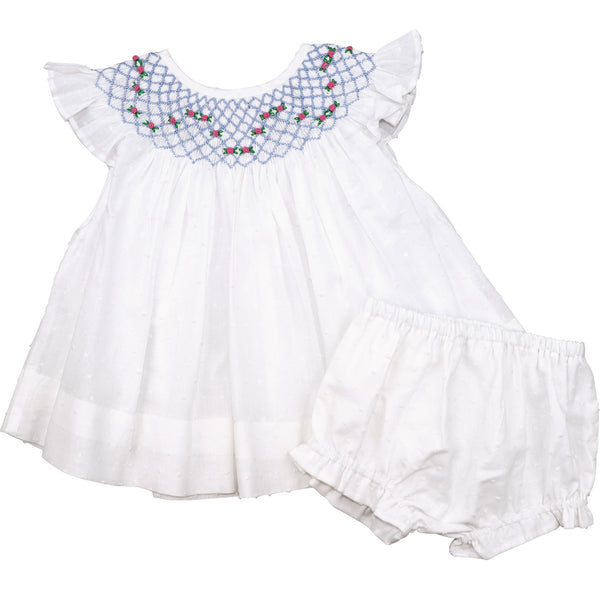 White Swiss Dot Geometric Smocked Diaper Set
