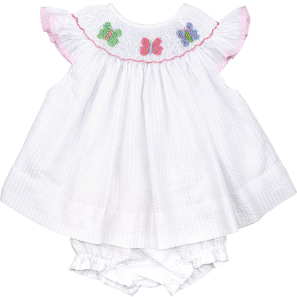 White Seersucker Smocked Butterfly Diaper Set
