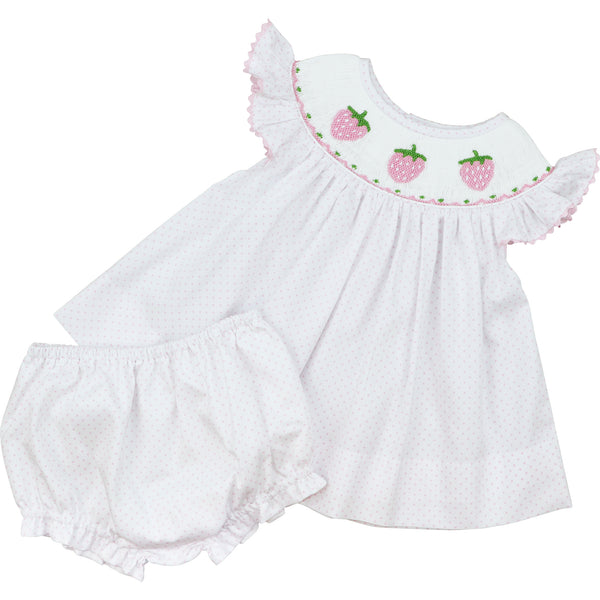 Pink Dot Pique Smocked Strawberry Diaper Set