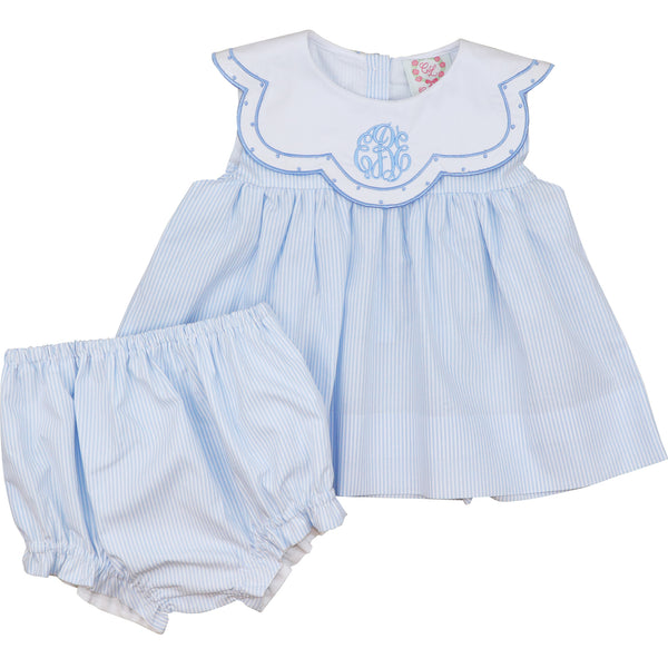Blue Mini Stripe Scalloped Collar Diaper Set