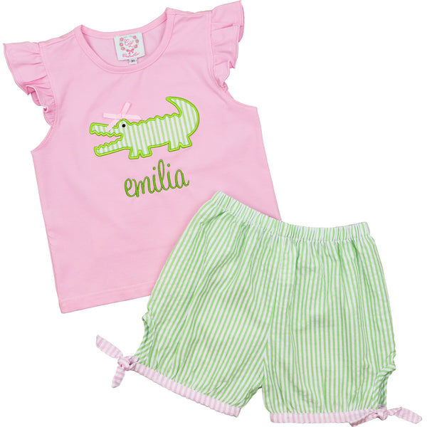 Green and Pink Seersucker Alligator Short Set