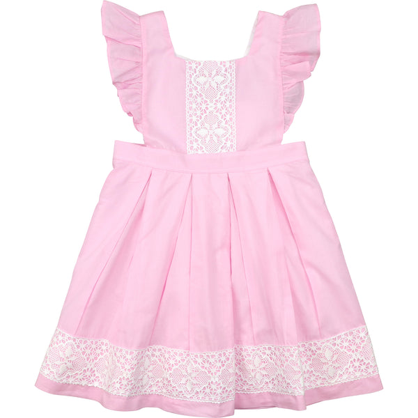 Pink Lace Pleated Heirloom Dress