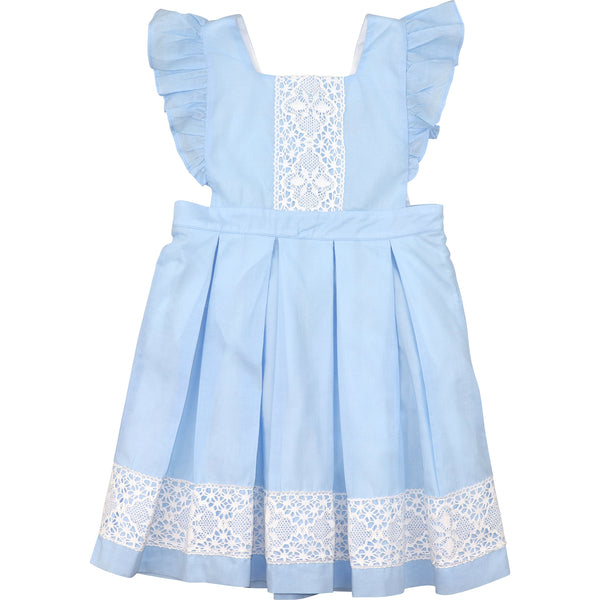 Blue Lace Pleated Heirloom Dress