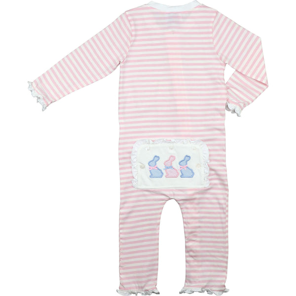 Pink Mini Stripe Knit Applique Bunnies Zipper Pajamas