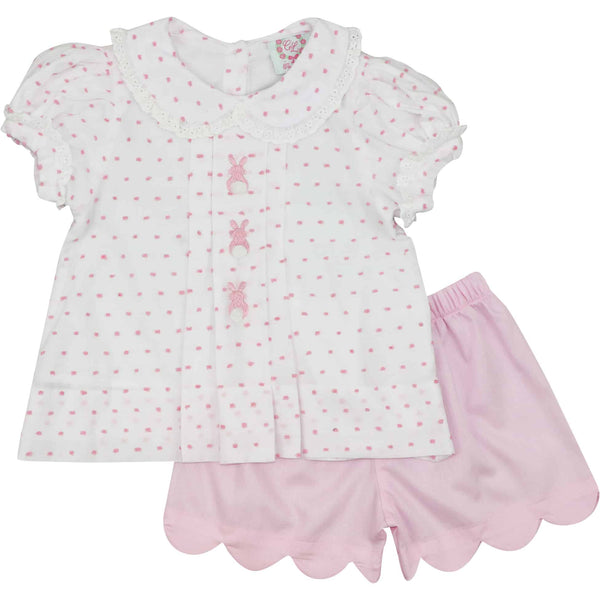 Pink Swiss Dot Bunny Short Set